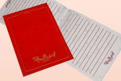 オリジナルノートのサンプル、短い辺で綴じたノートです。